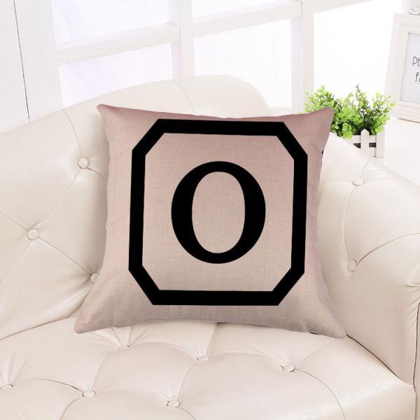 Cotton Linen Throw Pillow Case Cushion Cover Home Decor Initial Letter O