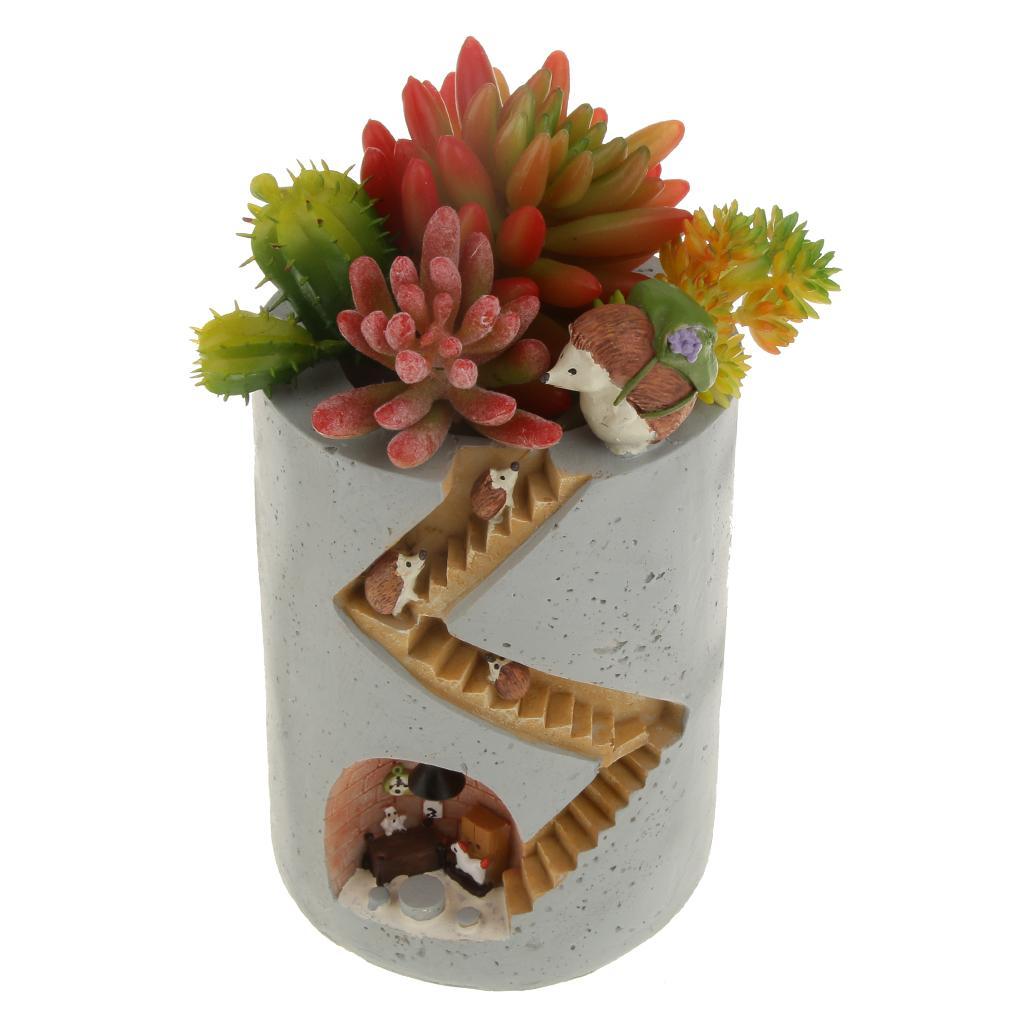 Resin Succulent Plant Planter Flower Pot Garden Craft Decor Hedgehog Design