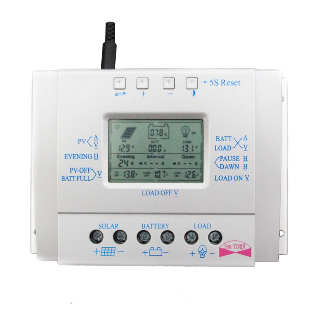 80A 12V/24V LCD Solar Panel Controller PWM Charging Battery Regulator USB
