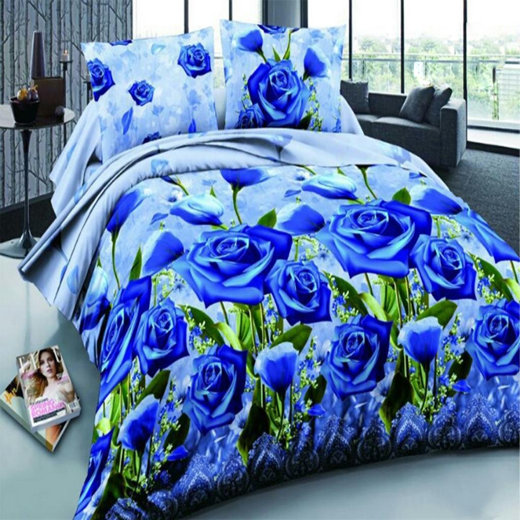3D BLU Rose1 Duvet Cover Sheet Bed Linen Pillowcase Bedding Set Double Queen