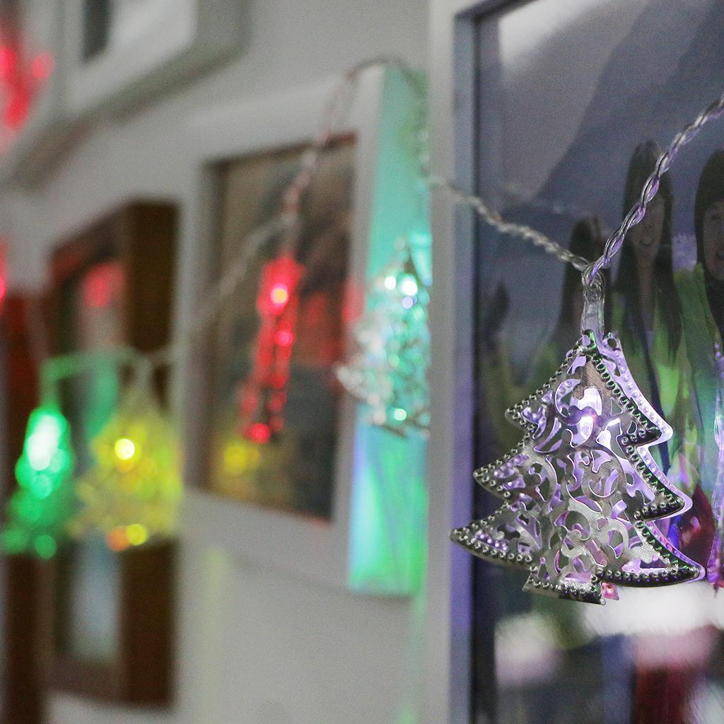 Christmas Tree Shape Bulb String Light 10-LED Wedding 7-Color Strip Lamp