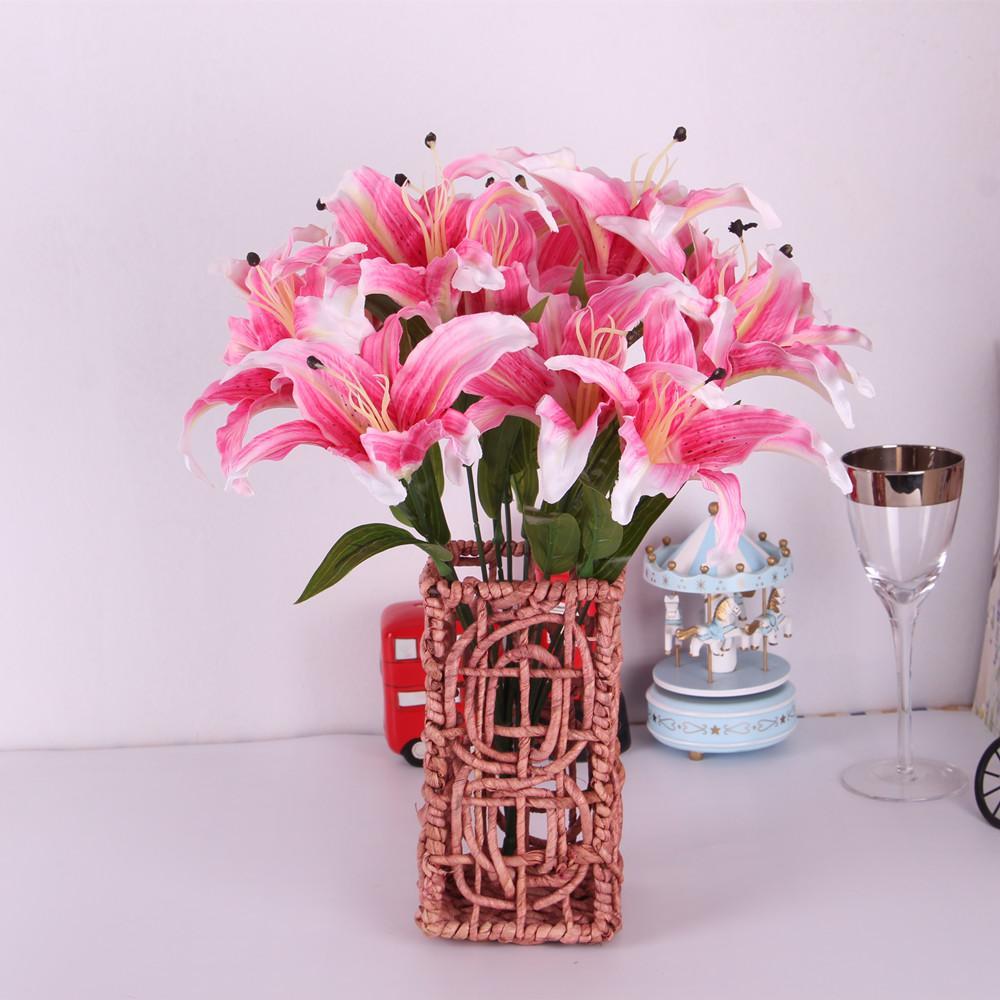 Silk Flower Artificial Lilies Bouquet 6 Heads Home Wedding Floral Decor-Pink