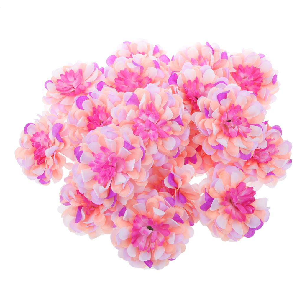 20Pcs Artificial Silk Blossom Flower Heads Home Wedding Party Decor Multi #2