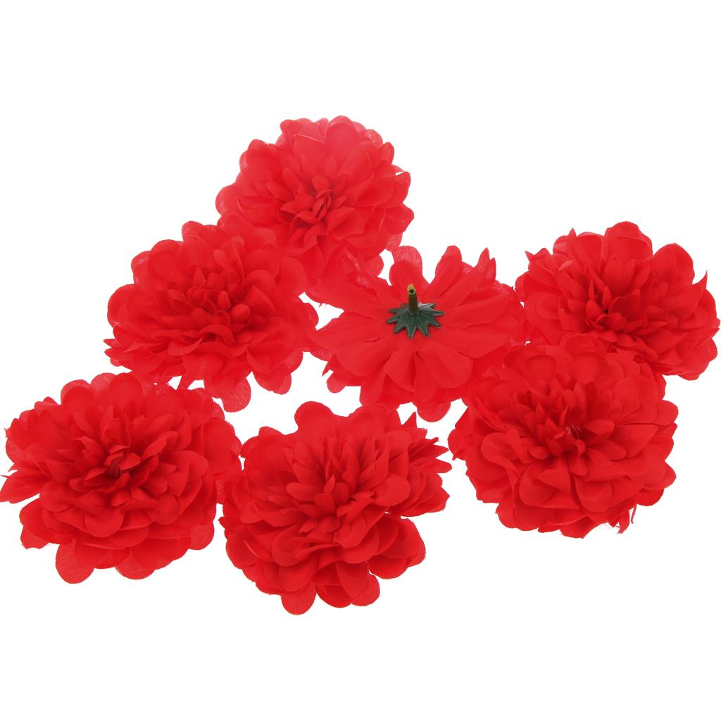 20Pcs Artificial Silk Blossom Flower Heads Home Wedding Party Decor Red