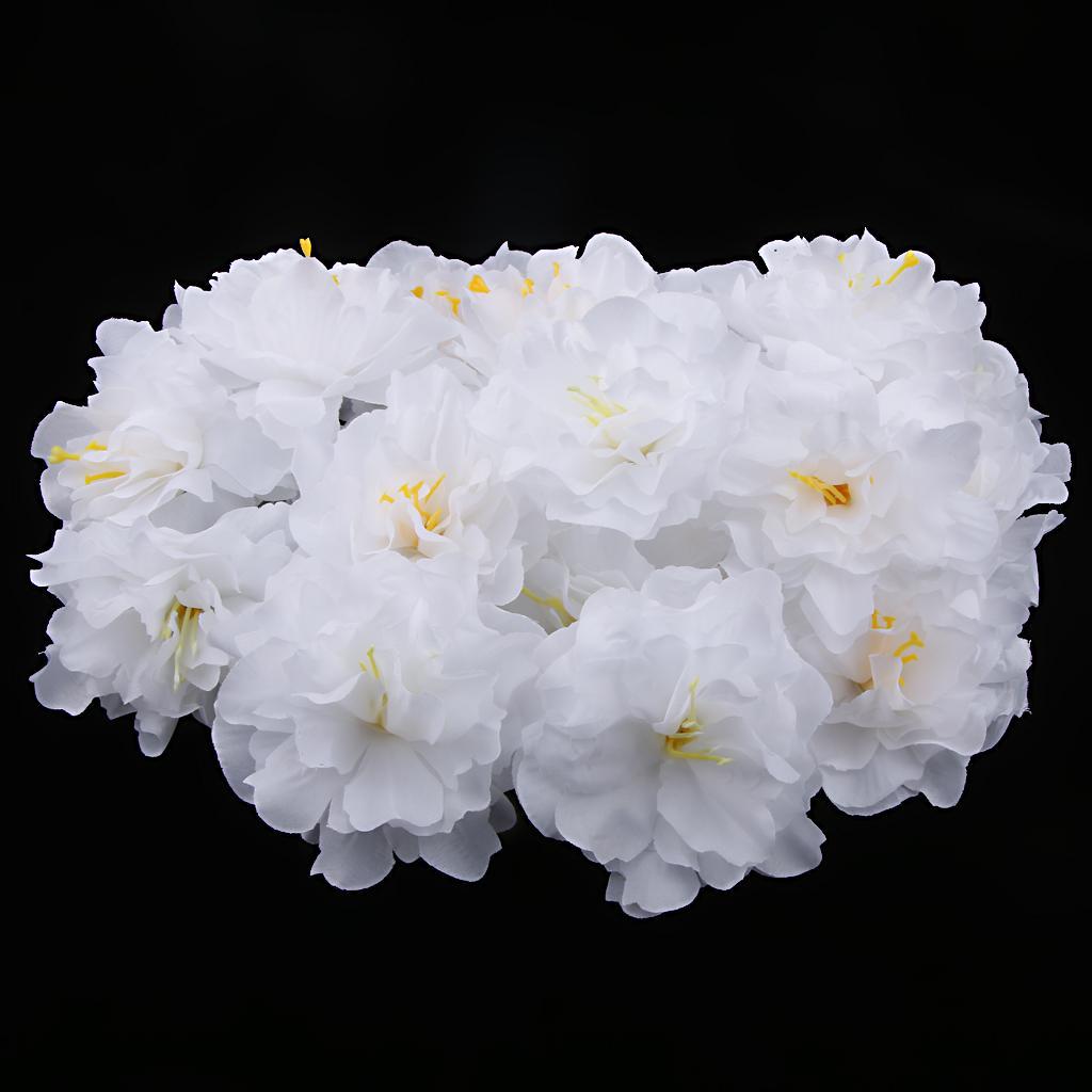 20pcs 8cm Artificial Silk Flower Rose Peony Heads Home Decor White