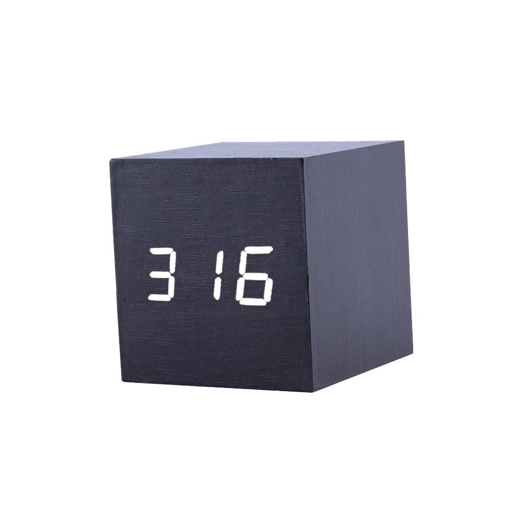 Square Wood White LED Alarm Digital Clock Voice Control Thermometer Black