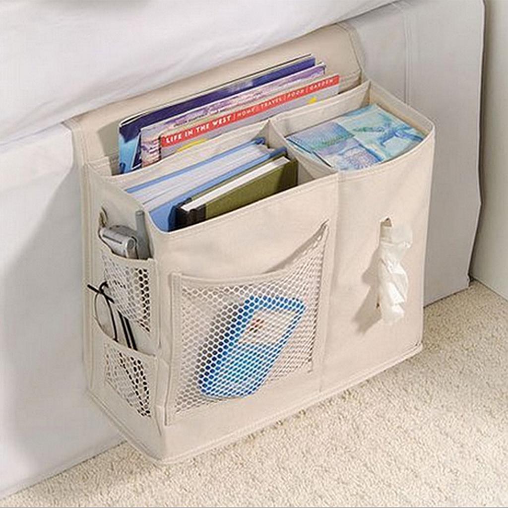 Oxford Cloth Sofa Arm Rest Storage Organizer Hanging Bag Home Decor Beige