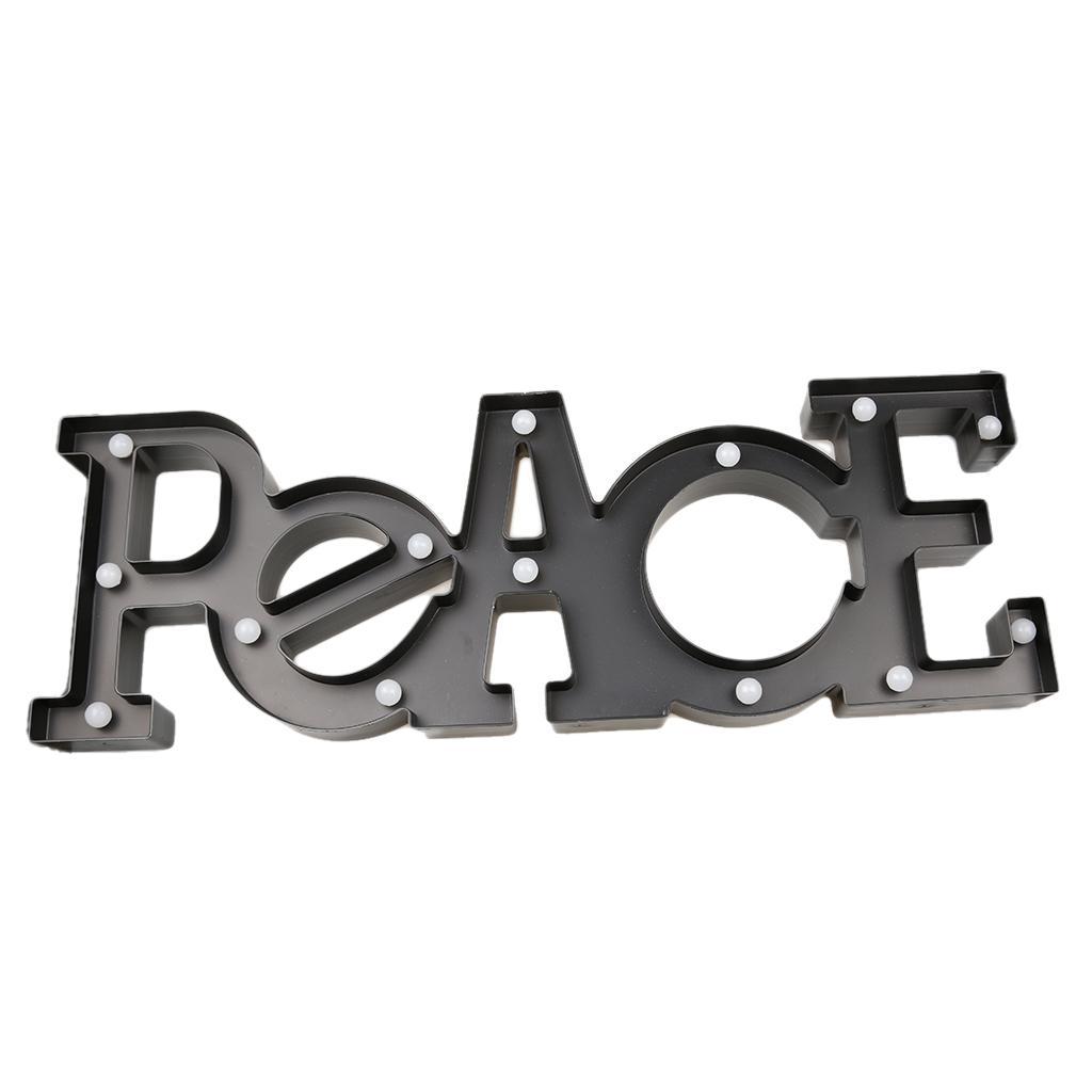 Black PEACE Letter Light Vintage Circus Style LED Light Up Sign Xmas Decor