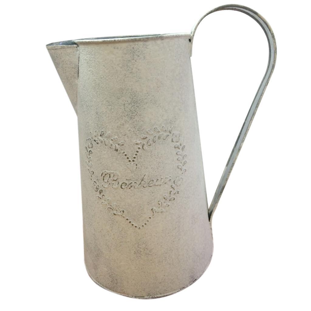 Vintage Shabby Flower Vase Pot Water Pitcher Metal Jug