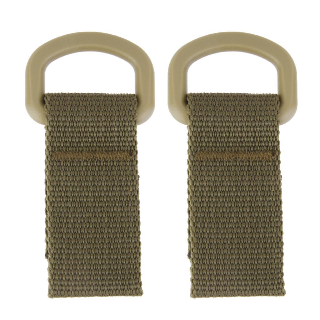 Tactical Molle Hanging Belt Carabiner Hook Webbing Buckle Backpack Khaki