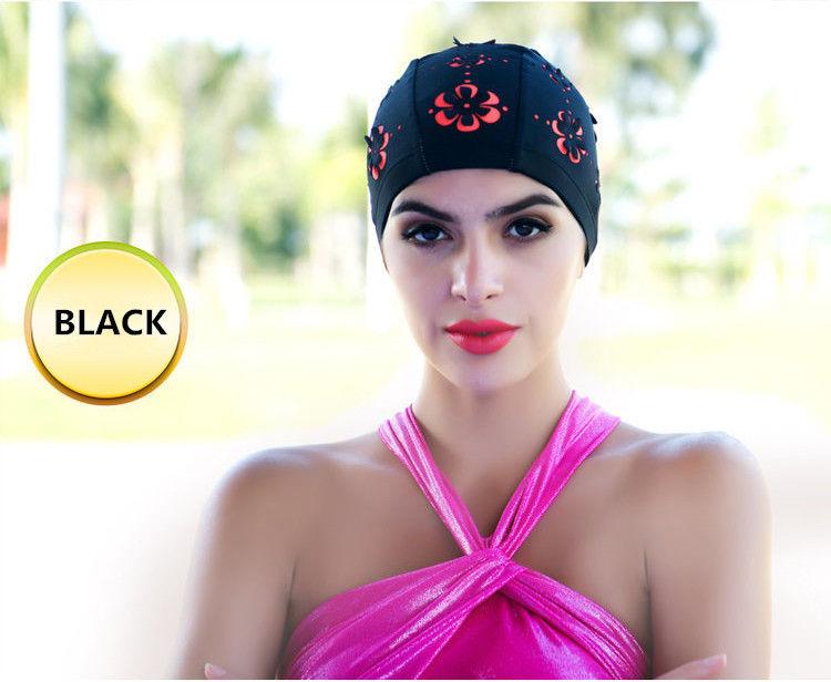 Ladies Flower Floral Hollow Swimming Hat Long Hair Bathing Cap - Black