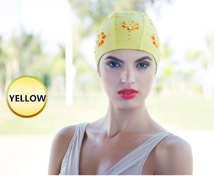 Ladies Flower Floral Hollow Swimming Hat Long Hair Bathing Cap - Yellow