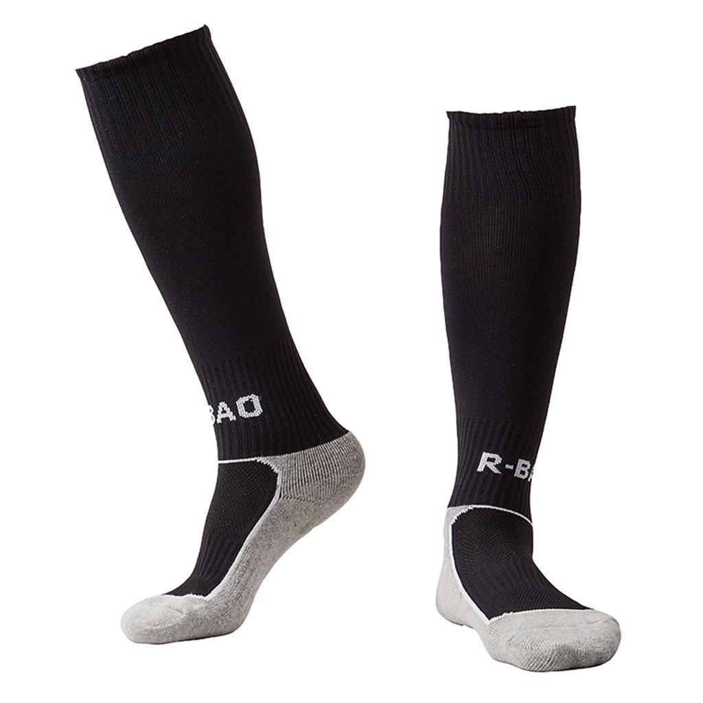 1 Pair Kids Towel Bottom Football Soccer Training Socks Team Socks Black