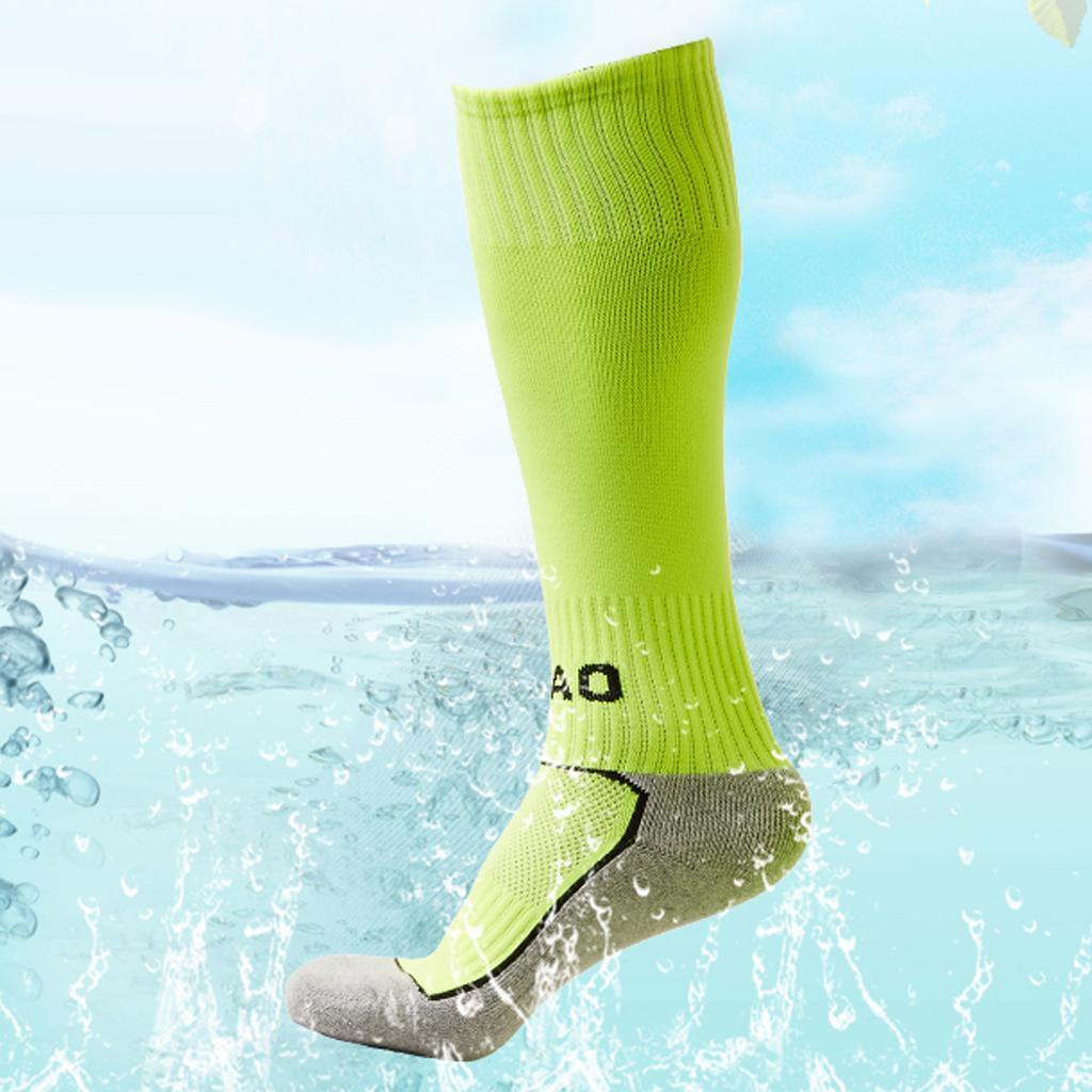 1 Pair Kids Towel Bottom Football Soccer Training Socks Team Socks Green