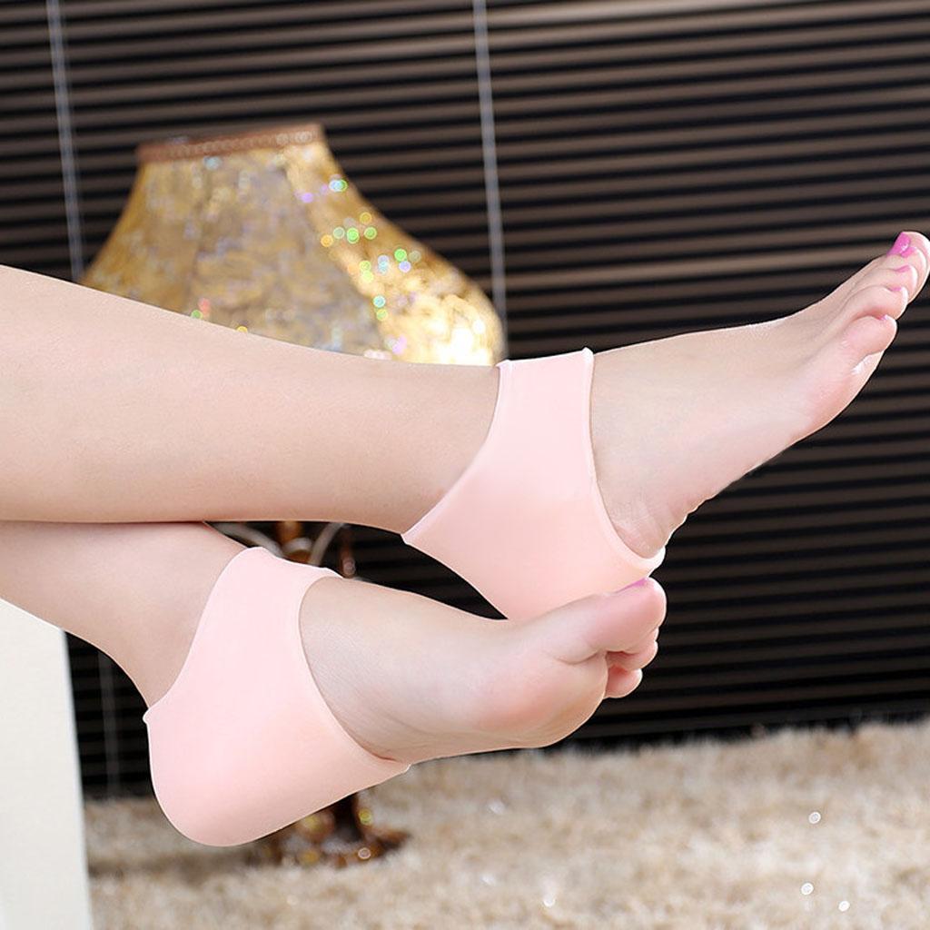 Pair Silicone Moisturising Gel Heel Cracked Foot Care Protectors Socks -Nude