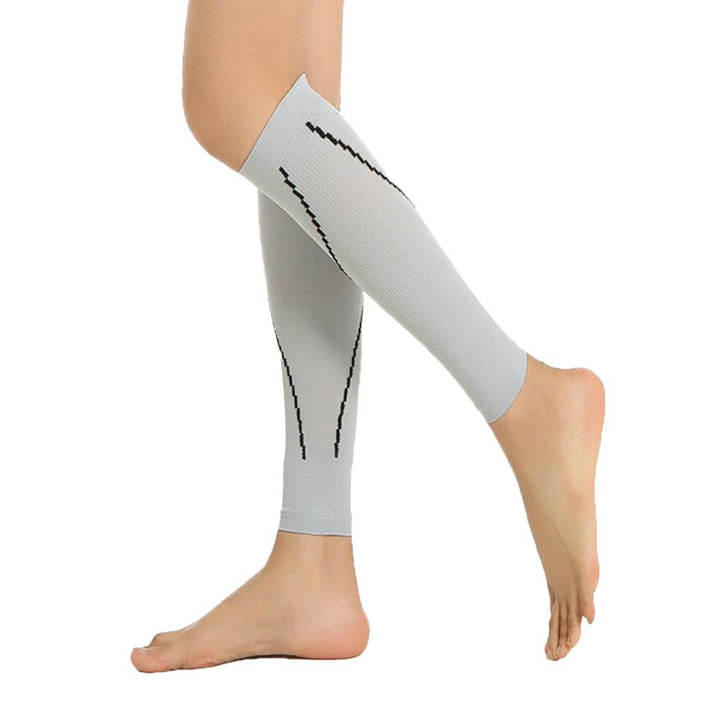 Pair Anti Fatigue Calf Wrap Varicose Veins Compression Support Socks M Grey