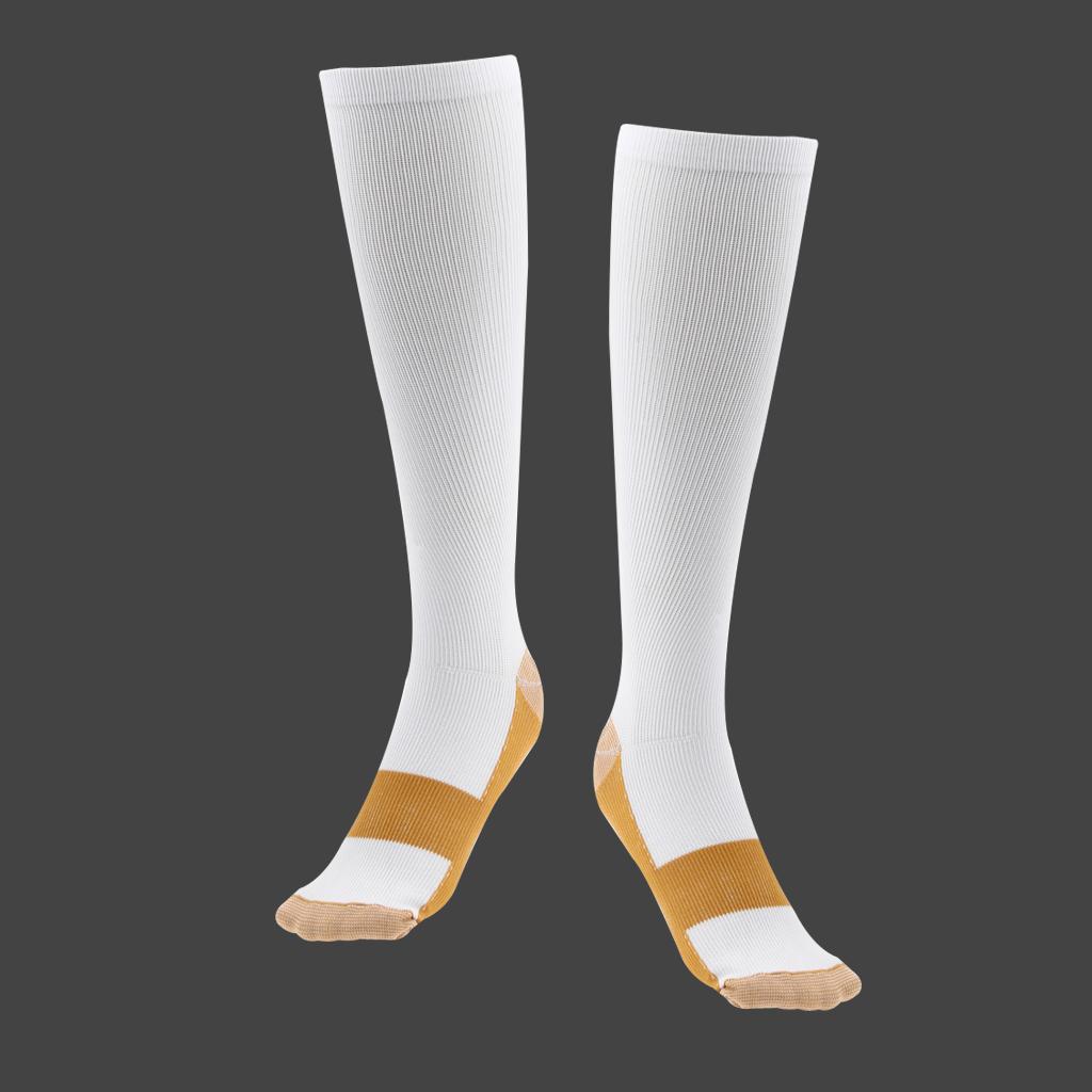 Unisex Nylon Copper Anti-Fatigue Compression Support Socks XL/XXL White