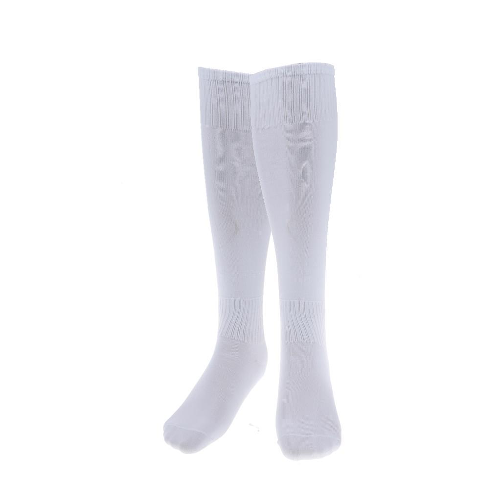 Sports Running Football Soccer Plain Long Socks Over Knee High Socks White