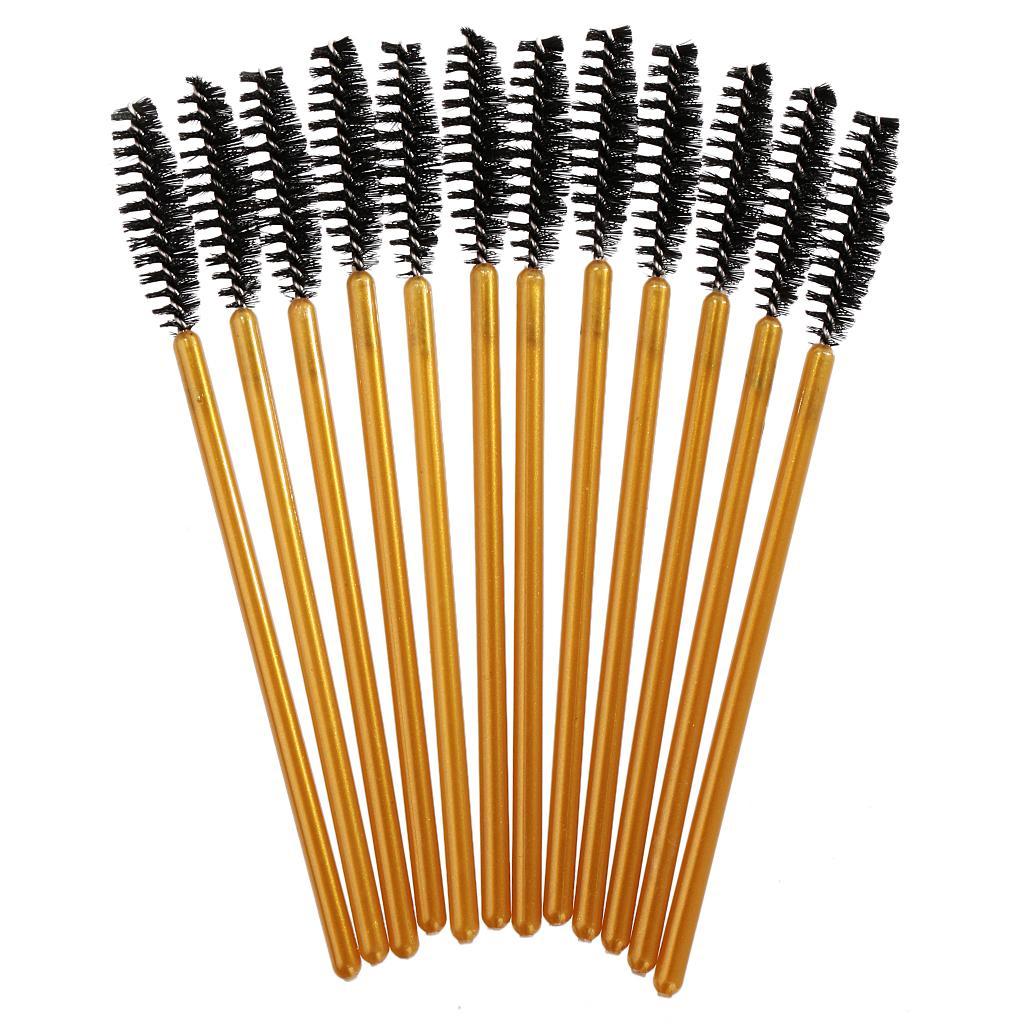 12PCS Disposable Eyelash Brush Mascara Wands Applicator Make Up Tool Gold