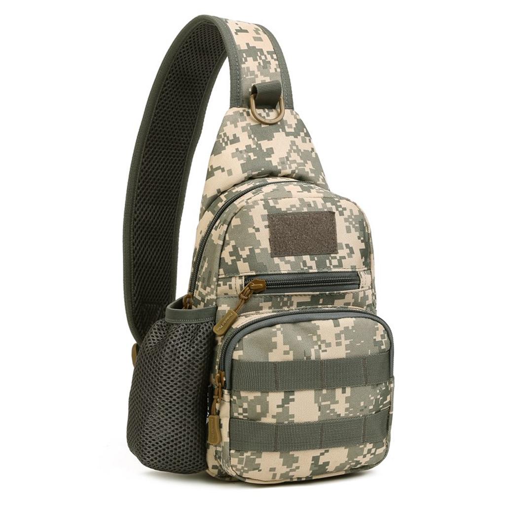 Tactical Military Sling Chest Day Pack Hiking Shoulder Messenger Bag ACU