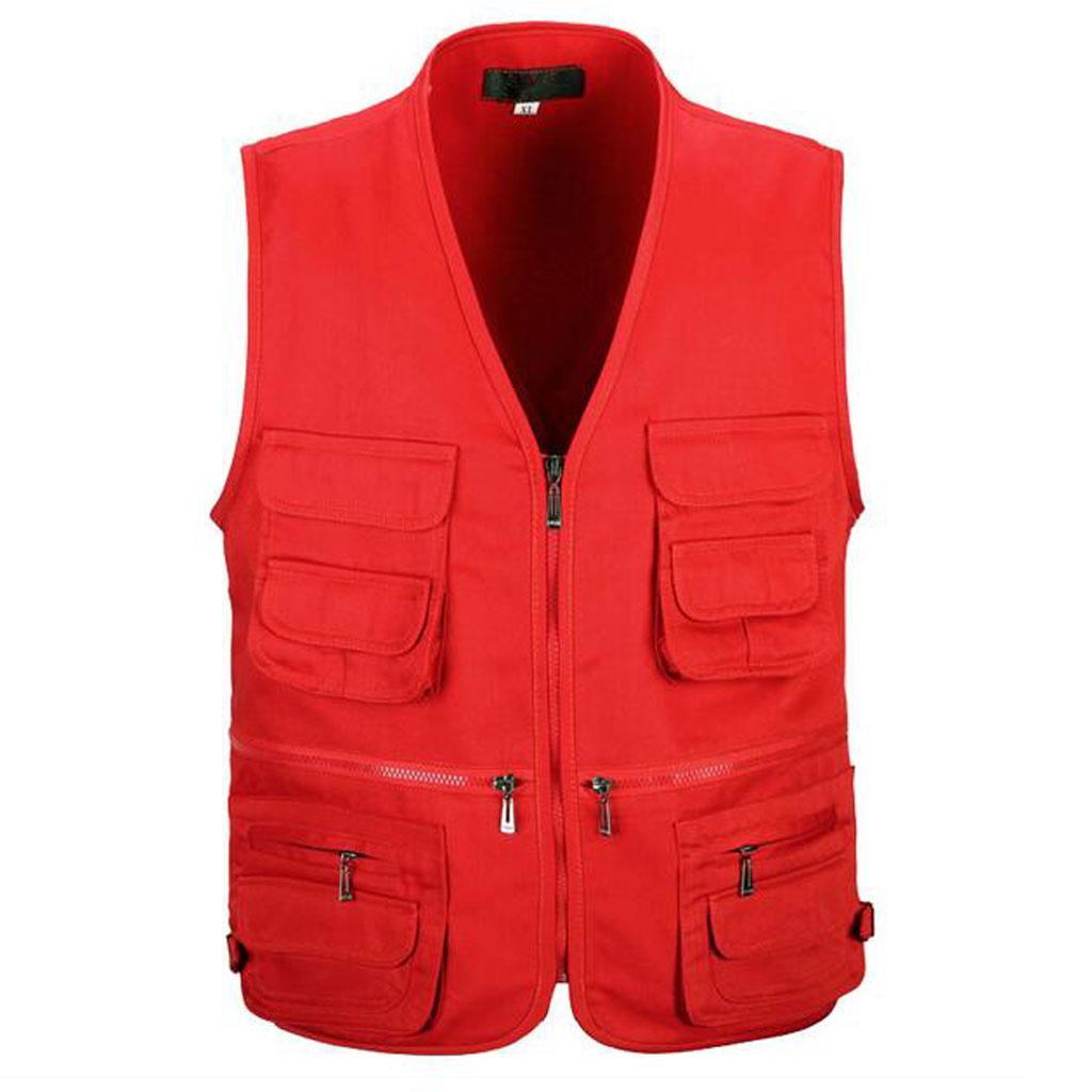 Men's Utility Multi Pocket Zip Hunting Fishing Travel Outdoor Vest Red XL