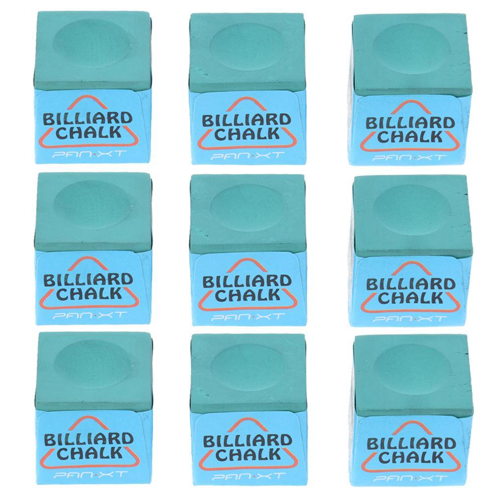 9 Pieces Billiard Chalk Snooker Pool Cue Tip Billiards Accessories Green