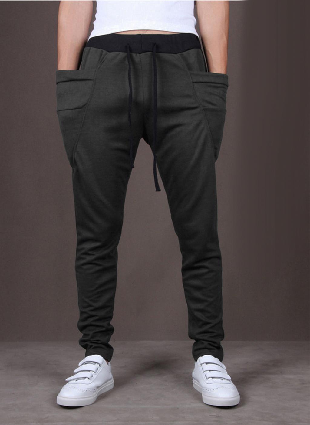 Mens Jogger Dance Sportwear Baggy Pants Trousers Sweatpants Dark Grey L