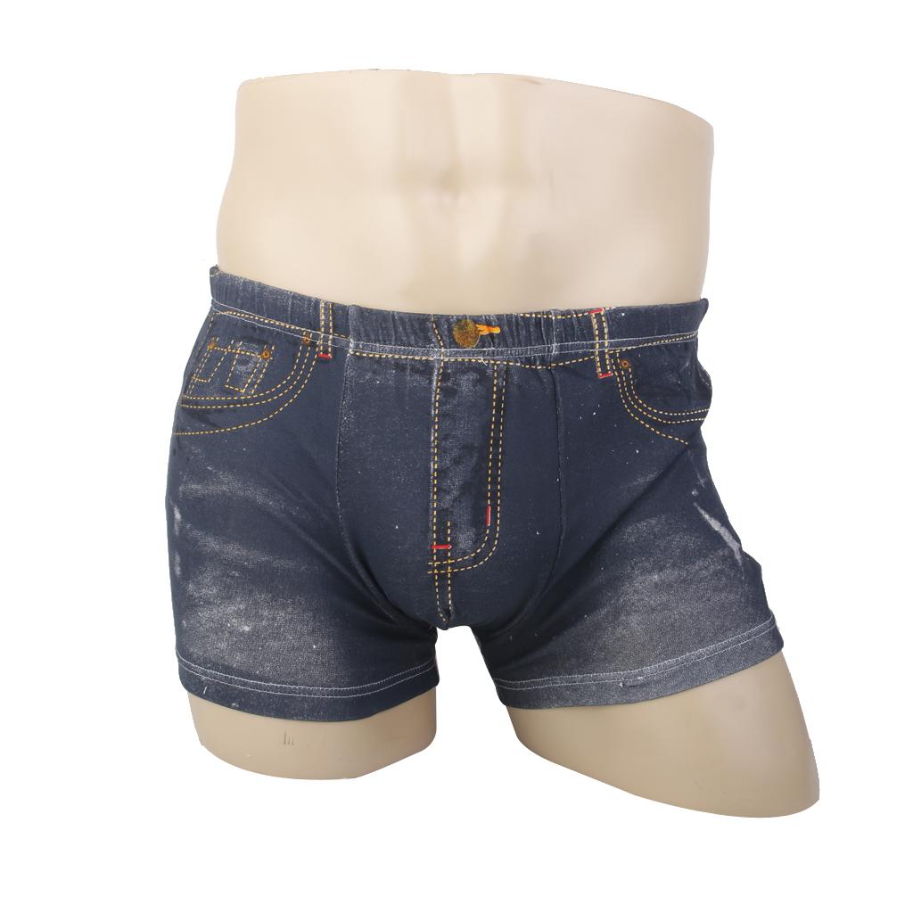 Men Cartoon Cotton Shorts Jeans Boxer Briefs Sexy