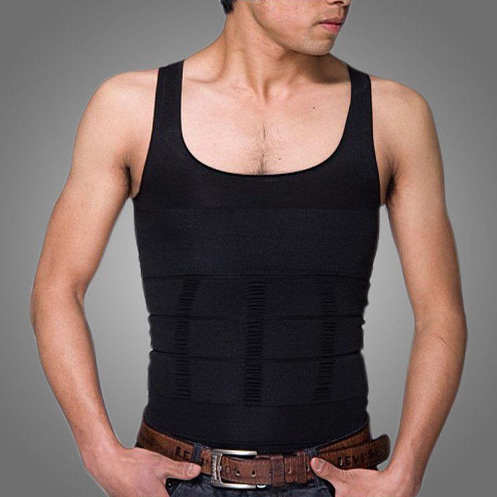 Mens Body Slim Shaper Belly Fatty Underwear Vest Shirt Corset Compression XL