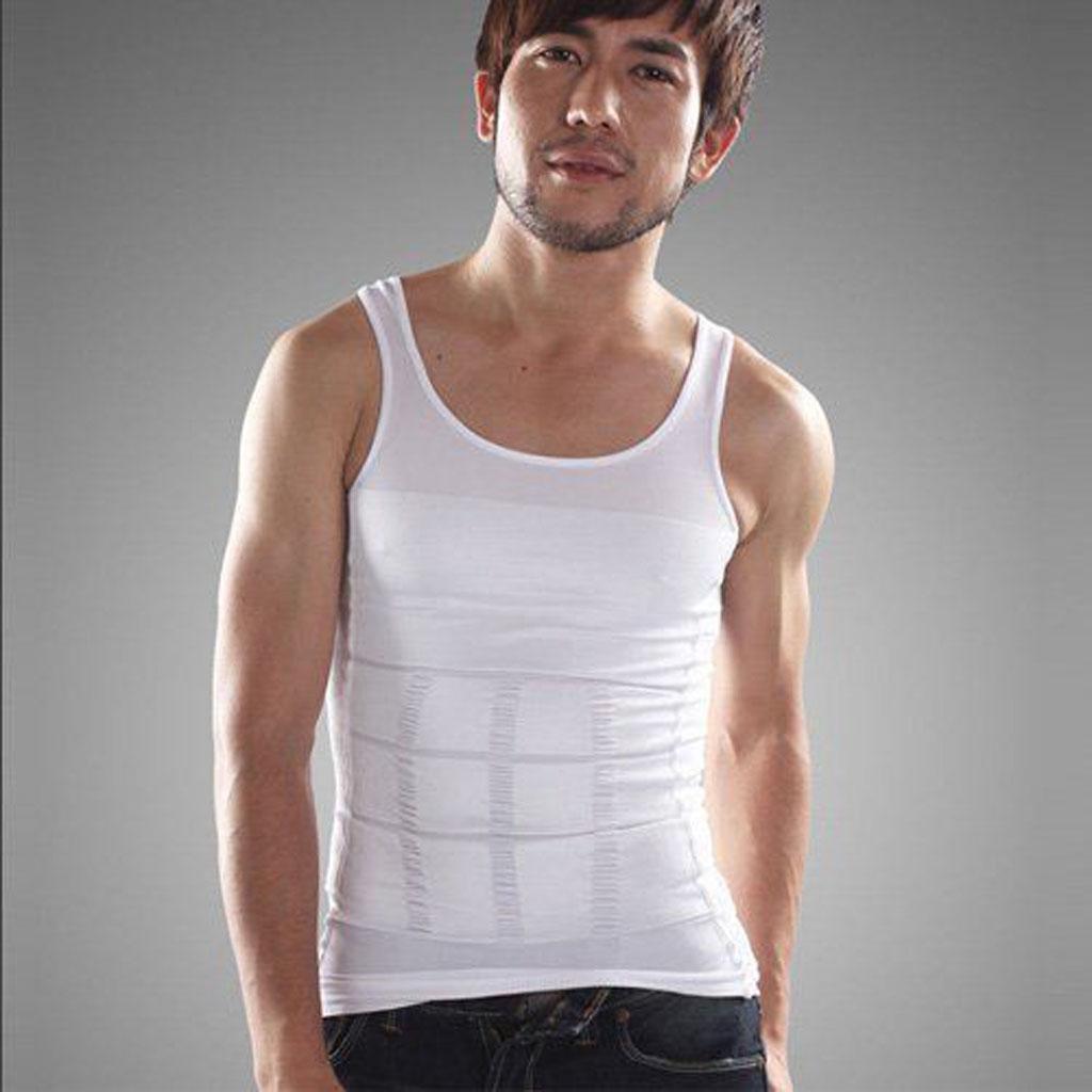 Mens Slim Body Shaper Belly Underwear Vest Shirt Corset Compressi...
