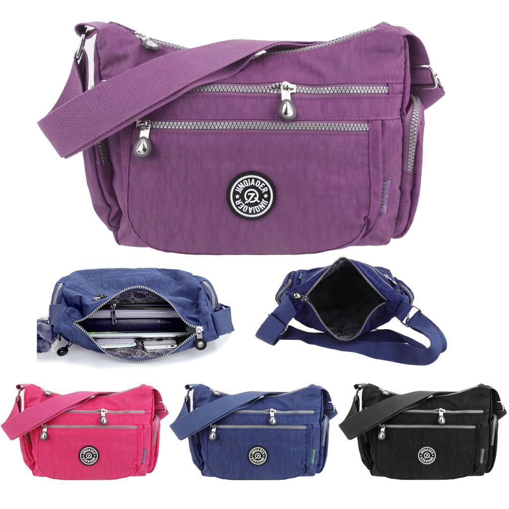 Womens Waterproof Crossbody Bag Shoulder Bag Messenger Zipper Handbag Purple