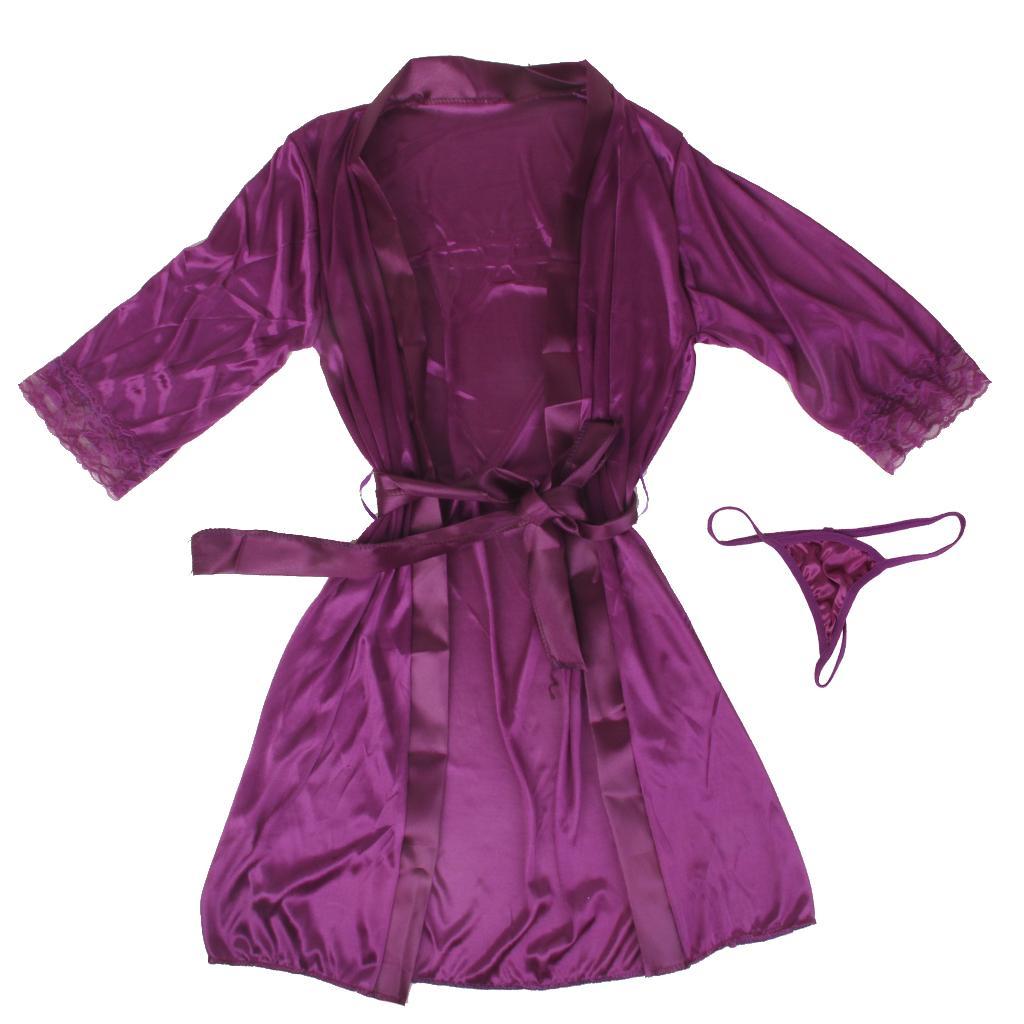 Sexy Women Silk Satin Lace Gown Bath Robes Nightwear G-string Dress Purple