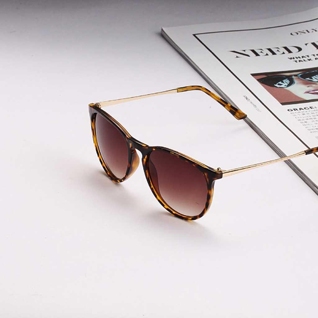 Fashion Womens Mens Round Sunglasses Frog Mirror Glasses Leopard