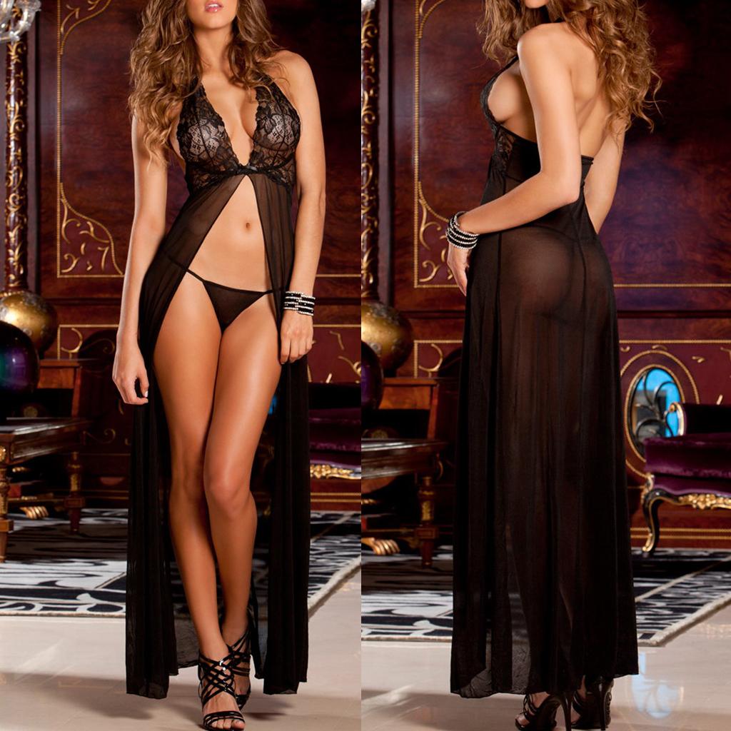 WOMEN SEXY LINGERIE LONG OPEN BABYDOLL DRESS GOWN SLEEPWEAR NIGHTWEAR 1105