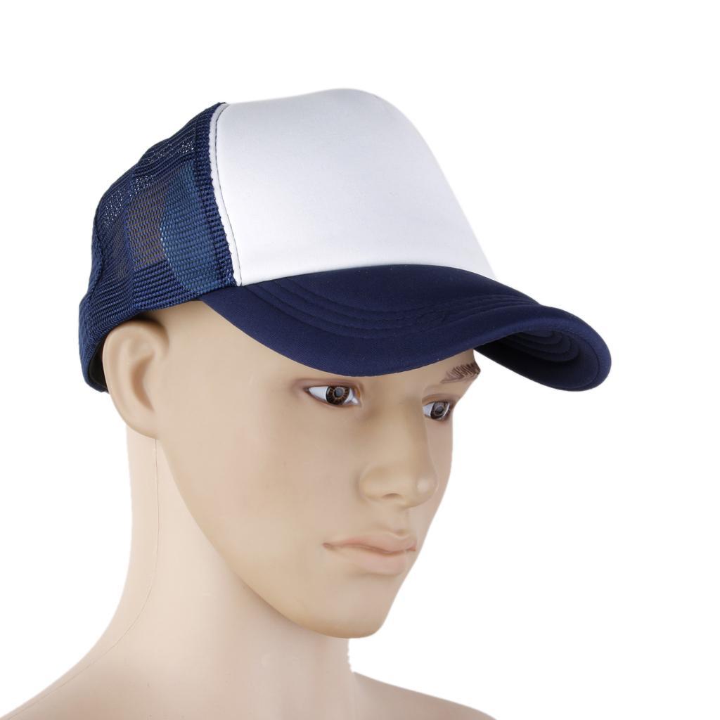 Adjustable Mesh Baseball Cap Trucker Hat Plain Curved Visor Hat Navy+white