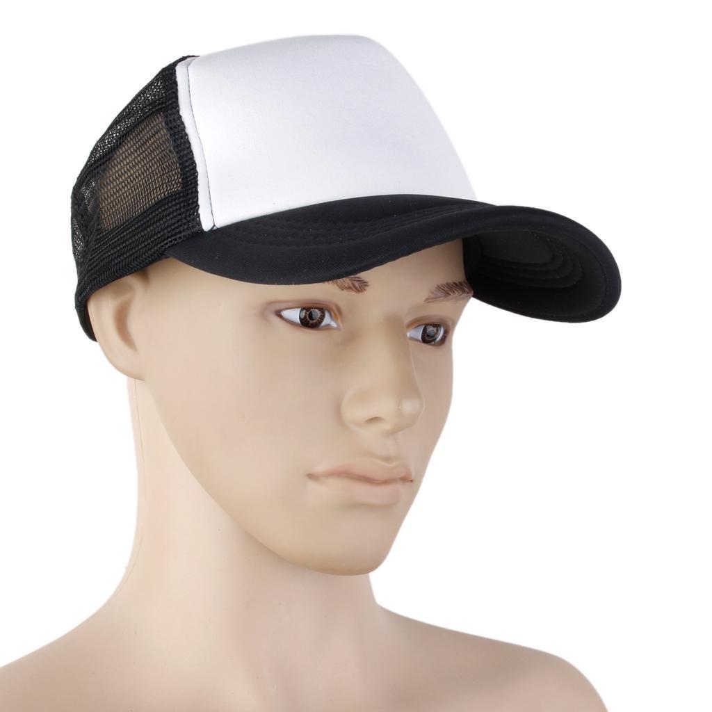Adjustable Mesh Baseball Cap Trucker Hat Plain Curved Visor Hat Black+white