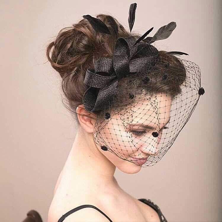 Fancy Dress Costume Bridal Hair Accessory Birdcage Veil Headband Mesh Mask