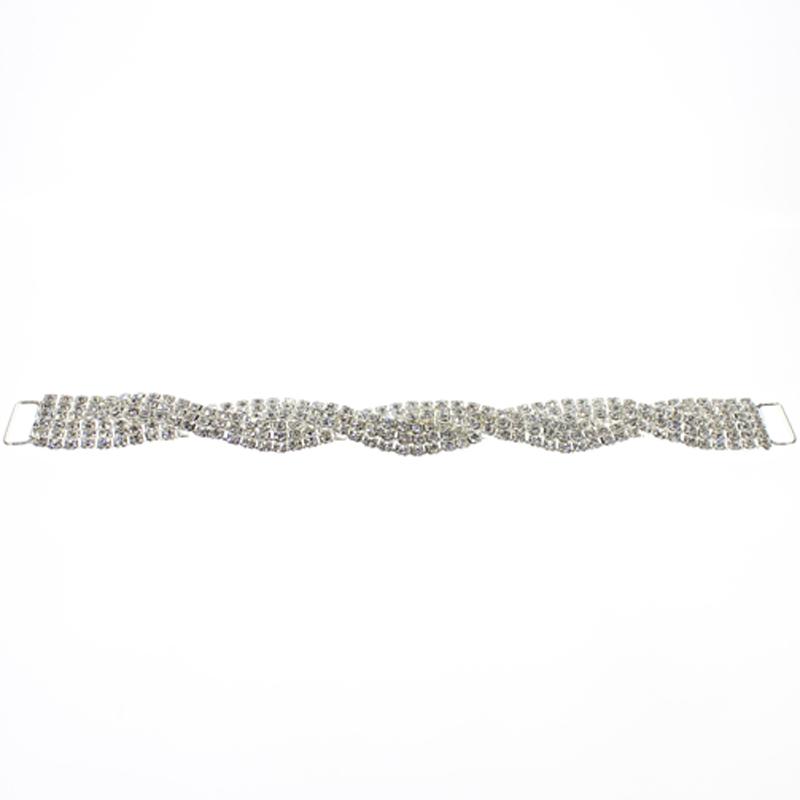 6 Row Rhinestone Bikini Connector Buckle Metal Chain For Swimming Wear