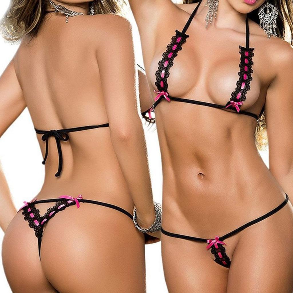 Sexy Lingerie Women's Swimwear Exotic Micro Bikini G-string Thong Black 3021
