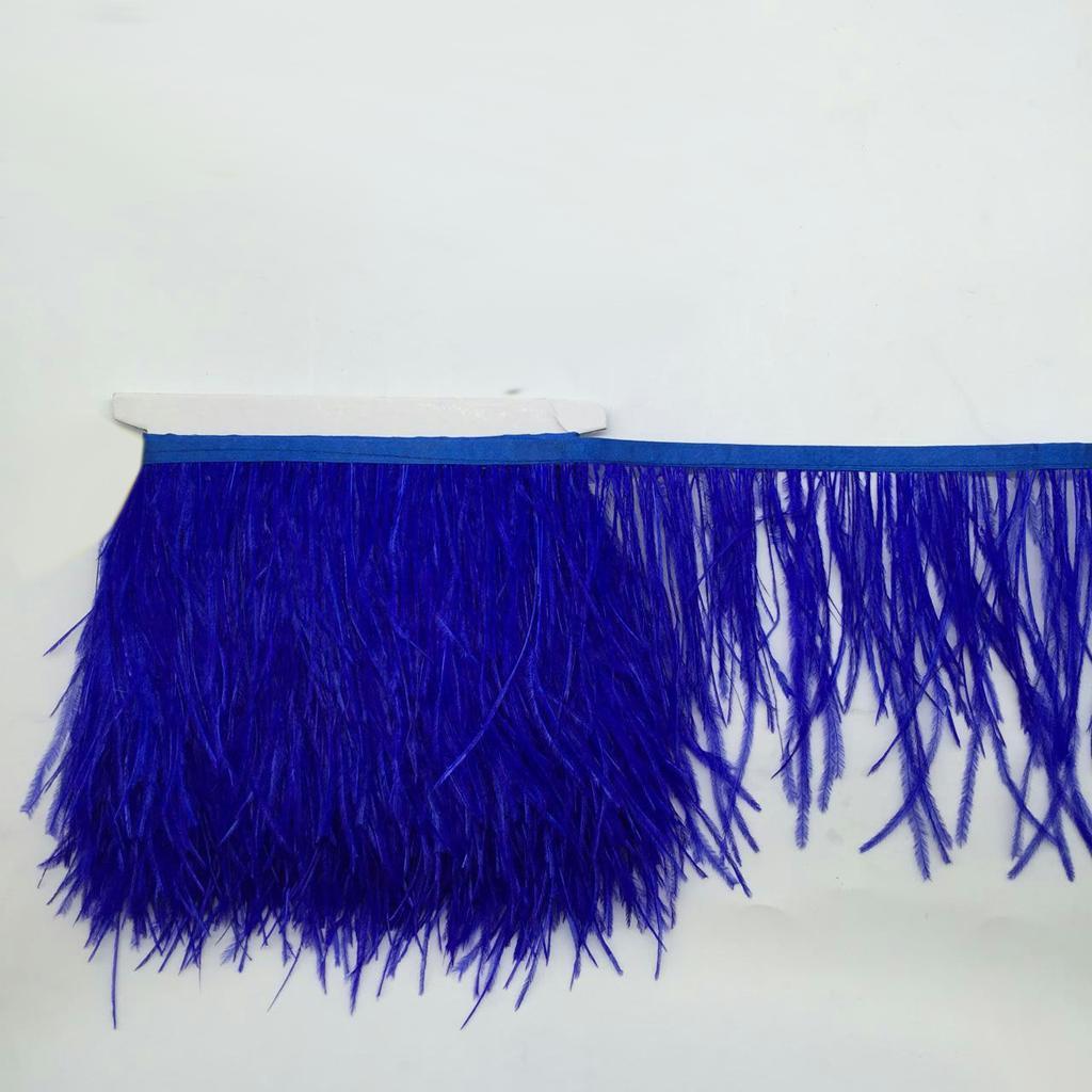 Ostrich Feather Dyed Fringe 1 Yard Trim Royalblue