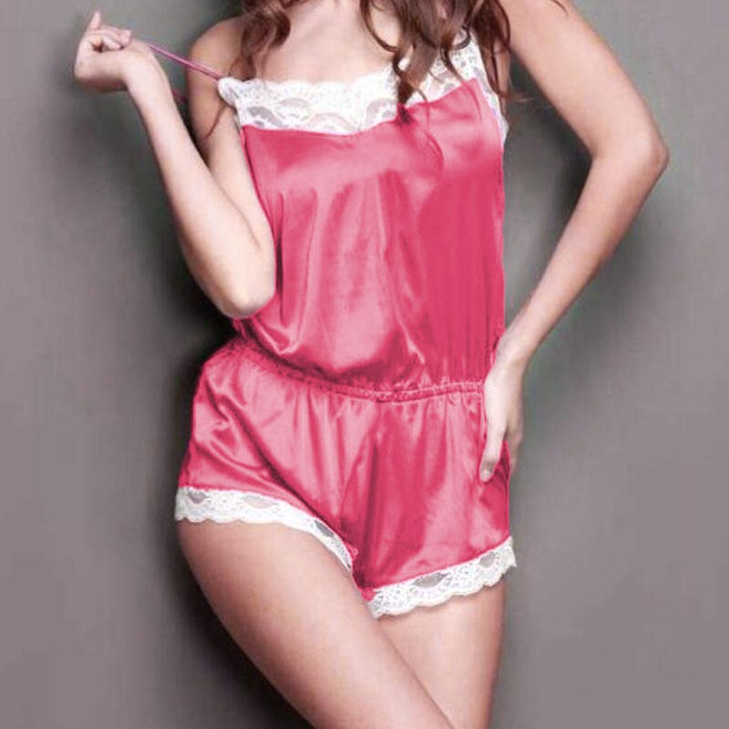 Sexy Nightwear Underwear Sleepwear Babydoll Lace Jumpsuit Bodysuit Pink M