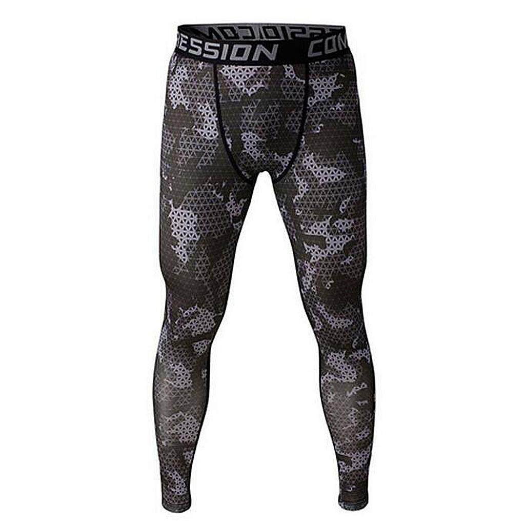 Men Exercise Legging Running Tight Trousers Workout Sport Pants Grey XXL