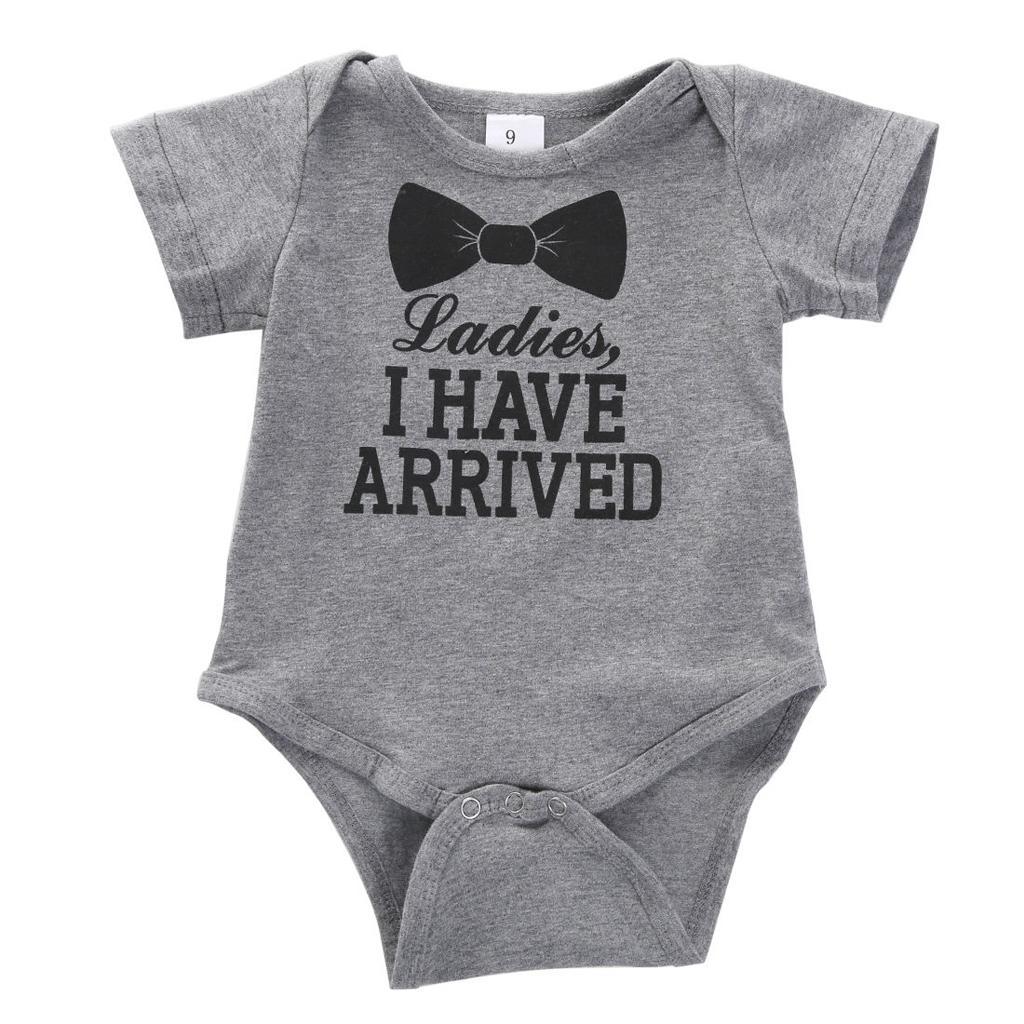 Newborn Boys Girls Bowtie Romper Bodysuit Playsuit Outfits Clothi...