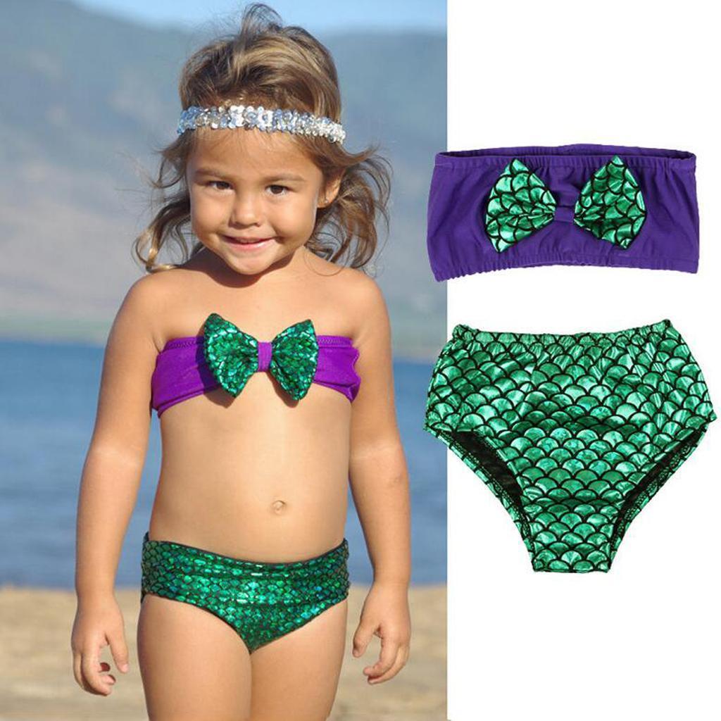 Girls Kids Bowknot Mermaid Bikini Set Swimwear Swimsuit Swim Cost...