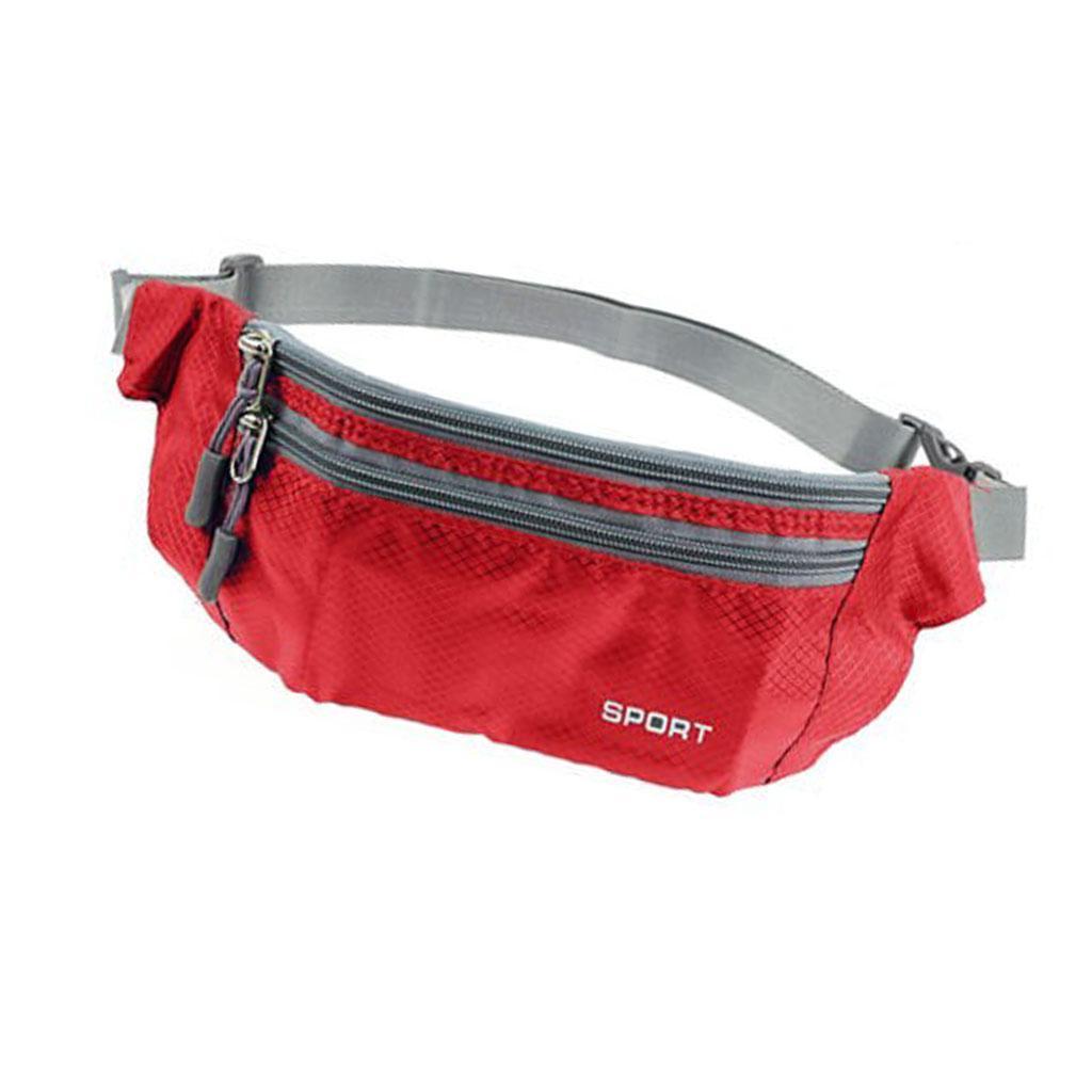 Fanny Waist Belt Bag Sport Hip Travel Camping Hiking Zip Pocket Men Red
