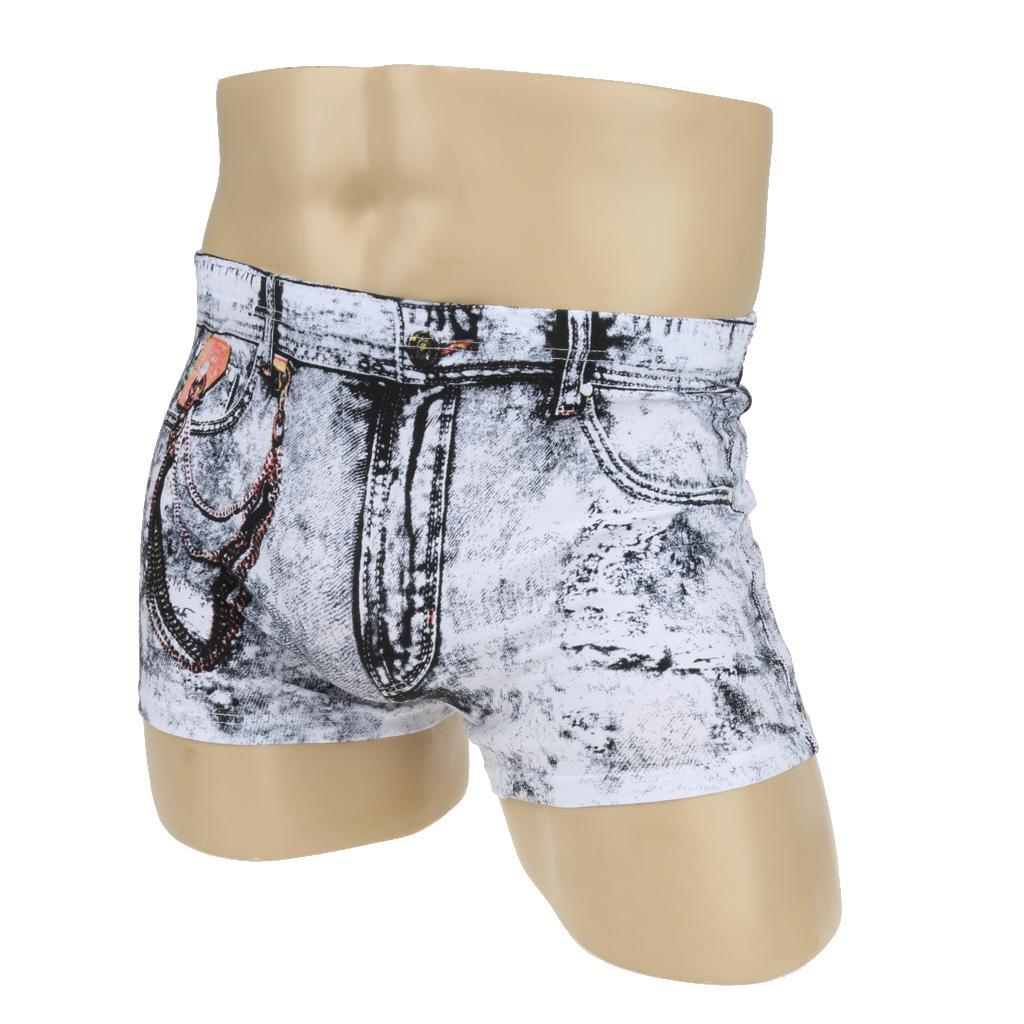 Men S Cartoon Cotton Shorts Denim Jeans Boxer Briefs Sexy