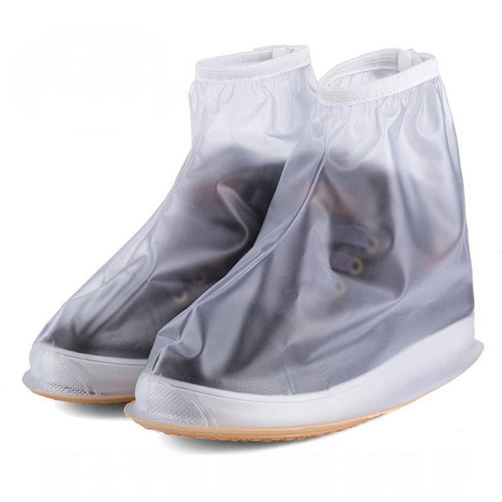 Reuseable Waterproof Rain Shoe Covers Overshoes Rain Boots Gear White M