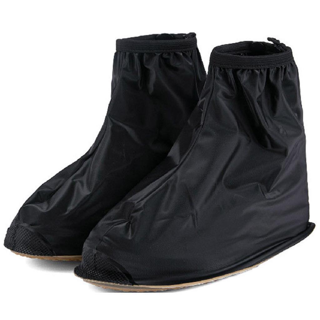 Reuseable Waterproof Rain Shoe Covers Overshoes Rain Boots Gear Black XXL