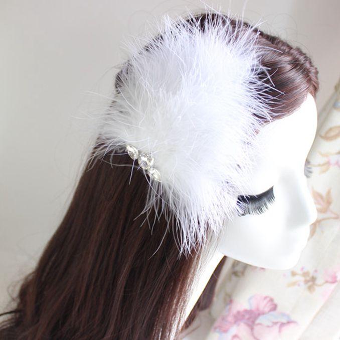 Women's Diamante Feather Hair Clips Wedding Party DIY Hair Decor White #2