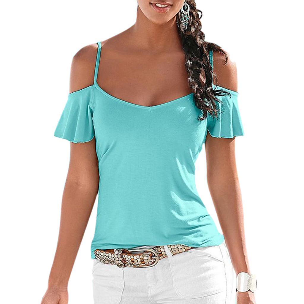 Women Summer Sexy Off Shoulder Blouse Cami Tops T-Shirt Beach Vest Blue M